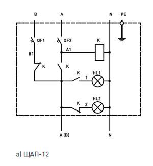 Принципиальные электрические схемы щитов автоматического переключения ЩАП.