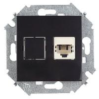 Розетка компьютерная RJ-45 кат.5е (черный) Simon 15 (уп/20шт) без рамки 1591598-032