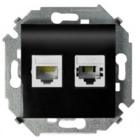 Розетка компьютерная+телефонная RJ-45+RJ-11 кат.5е (черный) Simon 15 (уп/20шт) без рамки 1591590-032
