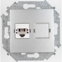 Розетка компьютерная RJ-45 кат.5е (алюминий) Simon 15 (уп/20шт) без рамки 1591598-033