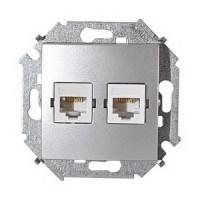 Розетка компьютерная+телефонная RJ-45+RJ-11 кат.5е (алюминий) Simon 15 (уп/20шт) без рамки 1591590-033