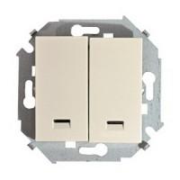 Выключатель 2кл. с подсветкой (сл.кость) Simon 15 (уп/20шт) без рамки 1591392-031