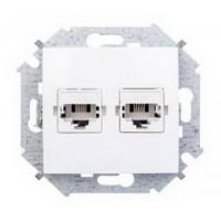 Розетка компьютерная+телефонная RJ-45+RJ-11 (белая) без рамки Simon 15 (уп/20шт) 1591590-030