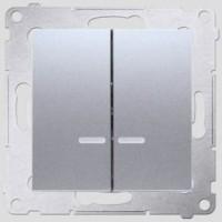 Выкл. 1кл. с подсветкой (металлик алюминий) Simon 34