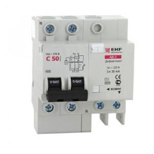 Дифференциальный автомат АД-2 25А/30мА (характеристика C, тип AC) 4,5кА EKF