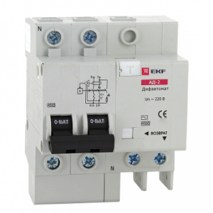 Дифференциальный автомат АД-2 50А/100мА (характеристика C, тип AC) 4,5кА EKF