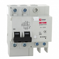 Дифференциальный автомат АД-2 63А/100мА (характеристика C, тип AC) 4,5кА EKF