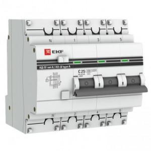 Дифференциальный автомат АД-32 32А/30мА (характеристика C, тип AC) 4,5кА EKF