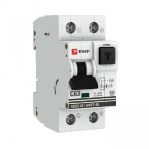 Дифференциальный автомат АВДТ-63 25А/30мА (характеристика C, эл-мех тип A) 6кА EKF