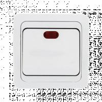 Лондон Выключатель 1-клавишный с индикатором 10А белый EKF