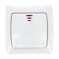 Мадрид Выключатель 1-клавишный с индикатором 10А белый EKF