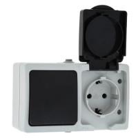 Блок Розетка-выключатель 1-клавишный 16А с заземлением с крышкой IP54 серый с защ. штор. Венеция EKF