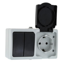 Блок Розетка-выключатель 2-клавишный 16А с заземлением с крышкой IP54 серый с защ. штор. Венеция EKF