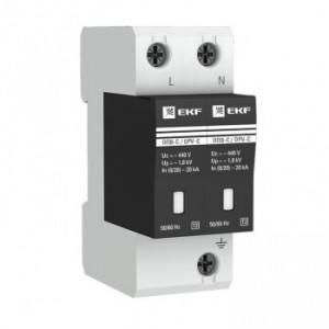 Ограничитель импульсных напряжений серии ОПВ-D/2P In 5кА 230В (с сигнализацией) EKF