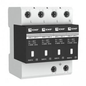 Ограничитель импульсных напряжений серии ОПВ-B/4P In 30кА 400В (с сигнализацией) EKF