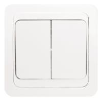 Лондон Выключатель 2-клавишный 10А белый EKF