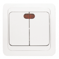 Лондон Выключатель 2-клавишный с индикатором 10А белый EKF