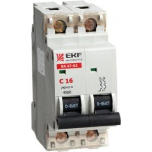 Автоматический выключатель ВА 47-63, 2P 16А (C) 4,5kA EKF