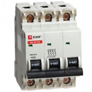 Автоматический выключатель ВА 47-63, 3P 40А (В) 4,5kA EKF