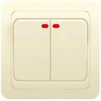 Выключатель 2кл инд. с/у 10А 250В крем Classic 2123 POWERMAN (уп/10/200шт)