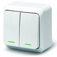Выключатель 2кл инд о/у 10А 250В белый Fazenda 7123 POWERMAN (уп/36/432шт)