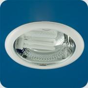 Светильник Down light 226 03 01 2х26W E27 круглый встр. со стеклом под комп. люмин. лампу с ПРА белый
