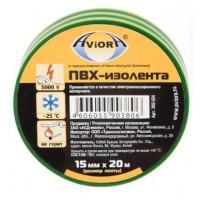 Изолента ПВХ Aviora желто-зеленая (15ммх20м)