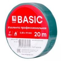 Изолента, класс А (профессиональная), 0.18х19мм, 20 метров, зеленая EKF