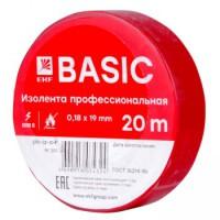 Изолента, класс А (профессиональная), 0.18х19мм, 20 метров, красная EKF