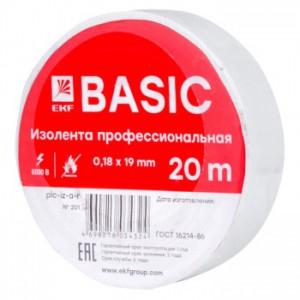 Изолента, класс А (профессиональная), 0.18х19мм, 20 метров, белая EKF