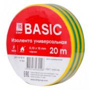 Изолента ПВХ EKF желто-зеленая 15ммх20м (уп10/200шт)