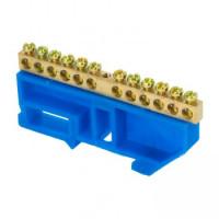 Шина 0 8х12 мм 125А 12 отверстий изолятор на DIN рейку (латунь) EKF