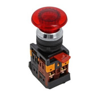 Кнопка AELA-22 Грибок красная с подсветкой NO+NC 220В EKF