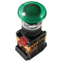 Кнопка AELA-22 Грибок зеленая с подсветкой NO+NC 220В EKF