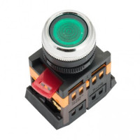 Кнопка ABLFS-22 с подсветкой зеленый NO+NC 230В EKF