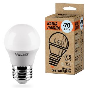 Лампа LED шар E27 7.5w 4000K 675Лм WOLTA 25S45GL7.5E27-P