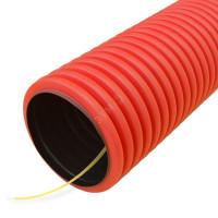 Труба гофрированная двустенная ПЭ гибкая тип 450 с/з красная д50 (50м/уп) Промрукав