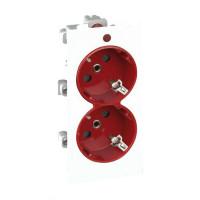 S1-6-9 Розетка с заземлением 2x2P+E, сдвоенная, S-модуль, с индикат.налич.напряжения,16А, 250 белый/красный