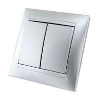 Выкл. 2кл. с подсветкой (металлик алюминий) Simon 34