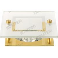 Светильник встраиваемый Amber 51 3 04 под галогенную лампу 50W GU5,3, квадратный со стеклом, золото Comtech