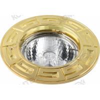 Светильник встраиваемый Antic 51 0 04 литой с античным рисунком под галогенную лампу 50W GU5,3, золото Comtech