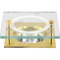 Светильник встраиваемый Amber 51 4 04 под галогенную лампу 50W GU5,3, квадратный со стеклом, золото Comtech
